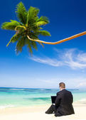 Bussinessman Working By Beach — Foto de Stock