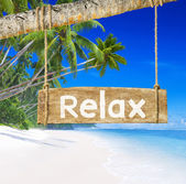 Beautiful Beach And Sign Relax — Stock Photo