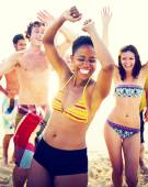 Group of people party on beach — Stock Photo