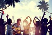 People Having Party by the Beach — Stock Photo