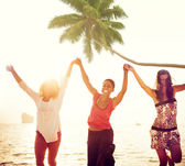 Young Women Celebrating by the Beach — Stock Photo