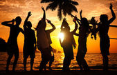 Silhouettes of People Partying Outdoors — Stock Photo