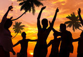 People Enjoying Party by the Beach — Stock Photo