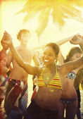 People Enjoying Summer Beach Party — Stock Photo
