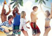 Cheerful People Partying on a Beach — Stock Photo