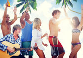 People Having a Party by the Beach — Stock Photo