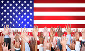 Arms Outstretched With North American Flag — Stock Photo