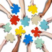 Hands Holding Jigssaw Puzzle — Stock Photo