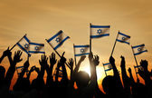 People Waving the Flags of Israel — Stock Photo