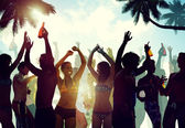People Having Party by Beach — Stock Photo