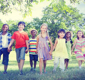 Diverse Children Playing in park — Stock Photo