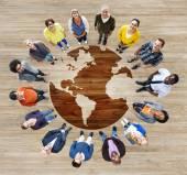 Diverse People around world illustration — Stock Photo