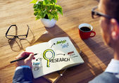 Man and Research Concept — Stock Photo