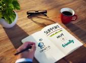 Man Writing Customer Service Concepts — Fotografia Stock