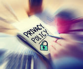Businessman Written Privacy Policy Concept — Stock Photo