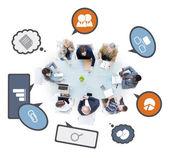 Discutir na reunião de pessoas de negócios — Fotografia Stock
