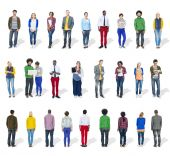 Multiethnic People in a Row  — Stock Photo