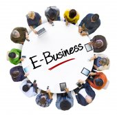 Business People with E-Business — Стоковое фото