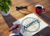 Kaufmann, Schreiben von Word ' Buchhaltung' — Stockfoto
