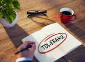Businessman Writing the Word 'Tolerance' — Foto de Stock