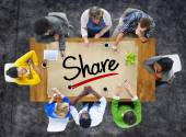 People and Single Word Share — Stock Photo