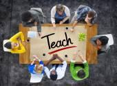 People and Single Word Teach — Stock Photo