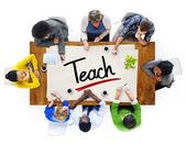 People and Single Word Teach — Stock Photo