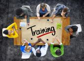 People and Single Word Training — Stock Photo