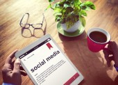 Man Reading Definition of Social Media — Stock Photo