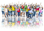 High School Students with Arms Raised — Stock Photo
