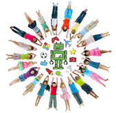 Children Circle with Hobby Symbols — Stok fotoğraf