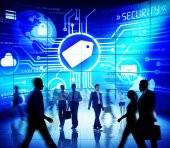 Business people against screen with Security Concept — Stock Photo