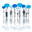 Business People Talking and speech bubbles — Stock Photo #63031859
