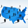 Silhouettes Of People On Cartography Of USA — Foto de Stock   #63034119