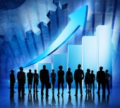 Business People on Booming World Economic — Stock Photo