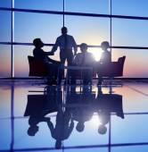Business People Meeting in Back Lit — Stock Photo