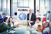 Group of People Discussion with Global Concept — Stock Photo
