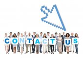 People Holding Placards Form Contact Us — Stock Photo