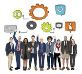 Diverse Business People and Symbols — Stock Photo