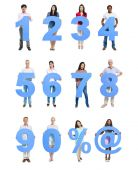 People Holding Blue Numeral in a Row — Stock Photo