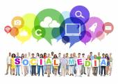 People and social media and related symbols — Stock Photo