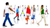 Blurred Motion of People Walking — Stock Photo