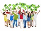 People Holding Brazilian Flags — Stock Photo