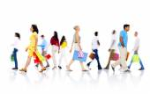Diverse People Walking with Shopping Bags — Stock Photo
