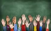 Multiethnic Diverse Hands Raised — Stock Photo