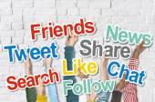 Hands Holding Social Media Words — Stock Photo