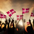 People Holding the Flags of Denmark — Stock Photo #63091855