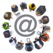Multiethnic People with e-mail symbol — Stock Photo #63096883