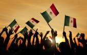 People Holding Flags of Mexico — Stock Photo