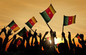 People Holding Flags of Cameroon — Stock Photo